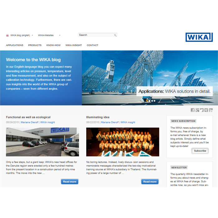 WIKA blogs about know-how, products and the company itself