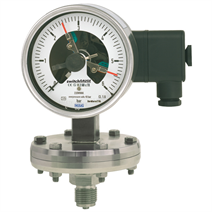 Diaphragm pressure gauge with switch contacts